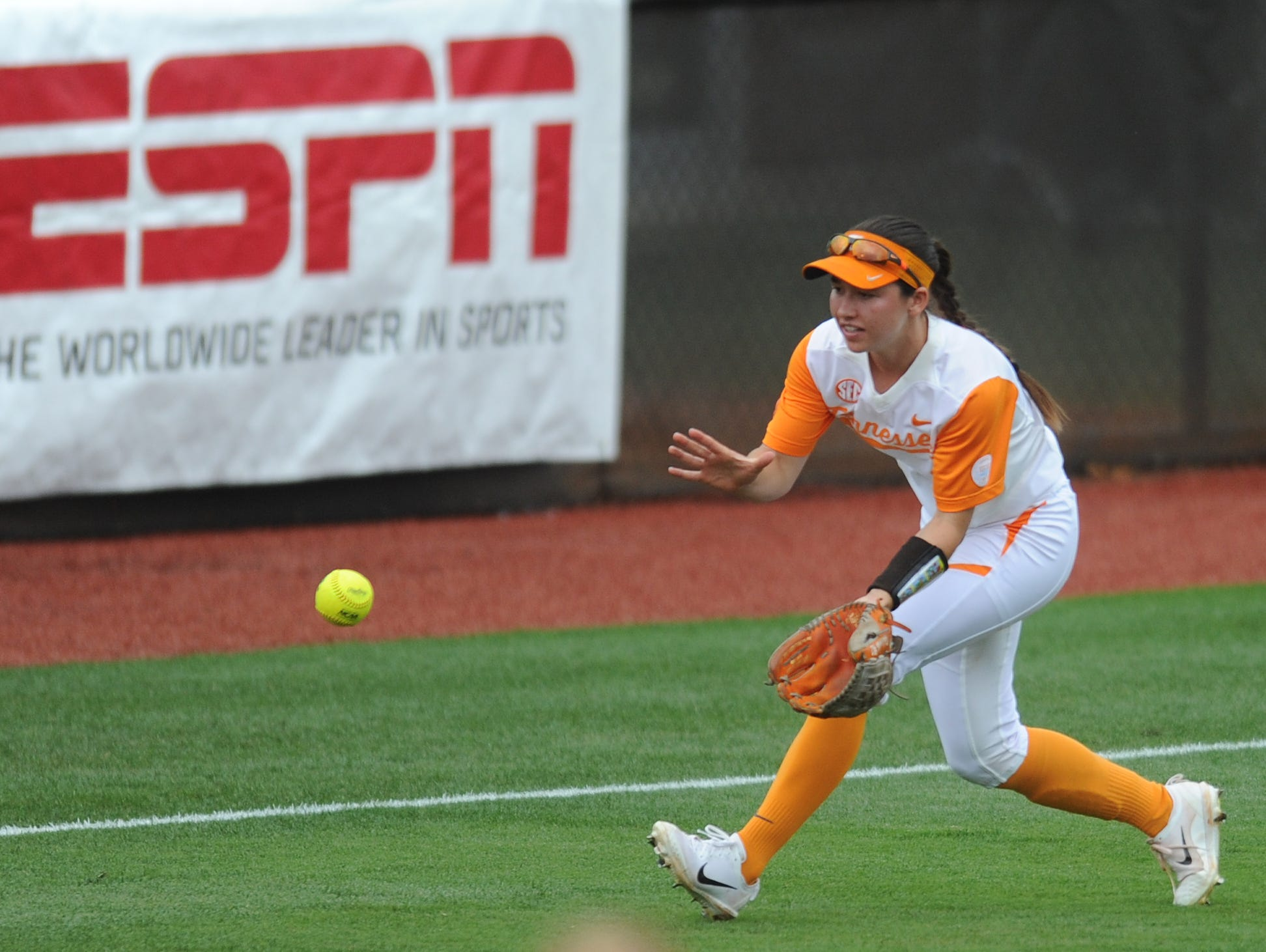 Tennessee's Jenna Holcomb (2) prepares to make a play during an NCAA Super Regional game between Tennessee and Texas A&M at Sherri Parker Lee Stadium on Sunday, May 28, 2017.