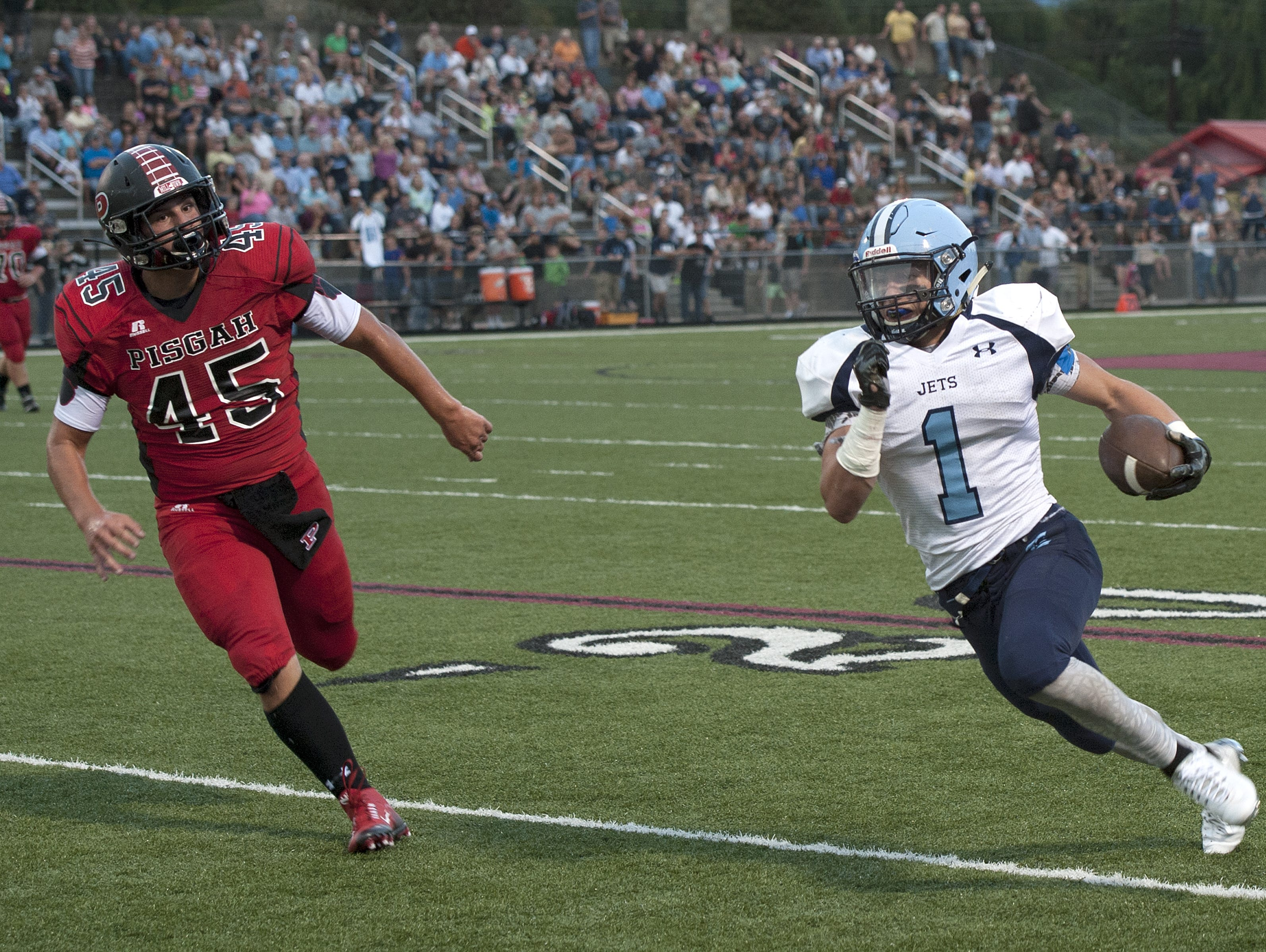 Enka senior Michael Cantrell (1) has committed to play college football for Mars Hill.