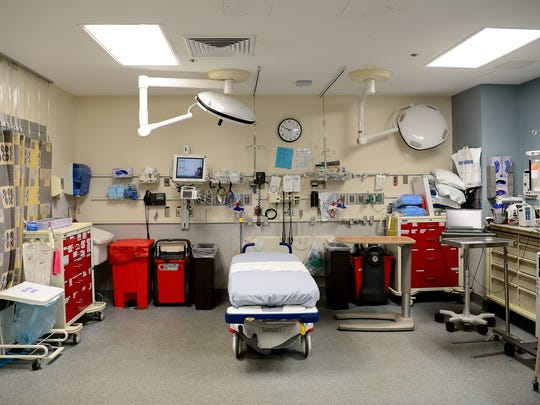 An exam room in the emergency department of Mission Hospital.