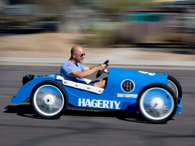 Andrew Bracanovich drives an Italiano kart Sept. 19,