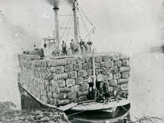 This photo of a steamboat, loaded with cotton in the