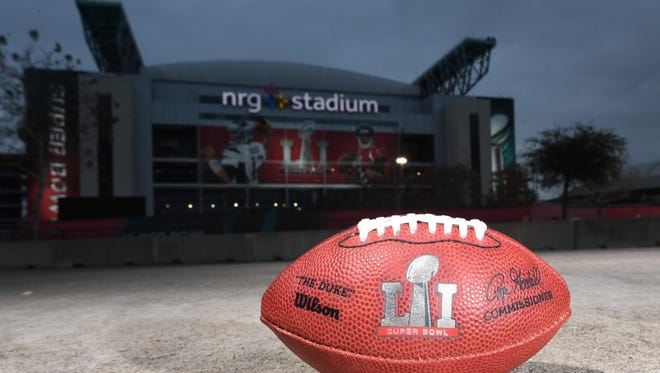 Feb 2, 2017; Houston, TX, USA; A general overall view of NFL official Wilson Duke football with Super Bowl LI logo at NRG Stadium prior to Super Bowl LI between the Atlanta Falcons and the New England Patriots. Mandatory Credit: Kirby Lee-USA TODAY Sports