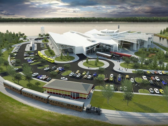 Looking from the west toward the Fox River, an architectural rendering of the planned reconstruction of the National Railroad Museum in Ashwaubenon on its existing 33-acre space.