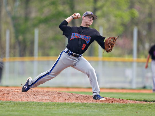 Silver Creek's Bryson McNay pitches the ball during a game between the Borden Braves and the Silver Creek Dragons. April 18, 2017