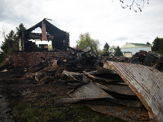 A fire destroyed part of a property in the 100 block of Moulstown Road in Paradise Township around midnight April 27