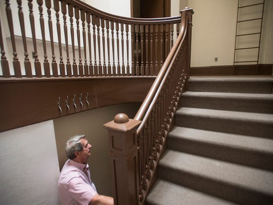 David Yohn in the staircase of the Gehly building. One Marketway West will be transformed into 47 residential units, a restaurant and parking underground for residents. An investor group, that includes David Yohn and his daughter Patricia Will, have bought the One Marketway West building on Continental Square from York County Tuesday June 2, 2015 in York. Paul Kuehnel - York Daily Record/ Sunday News
