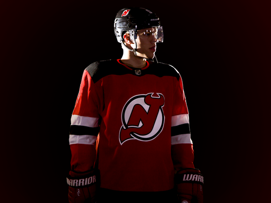 2763244f2 Taylor Hall sports the new Devils home jersey.