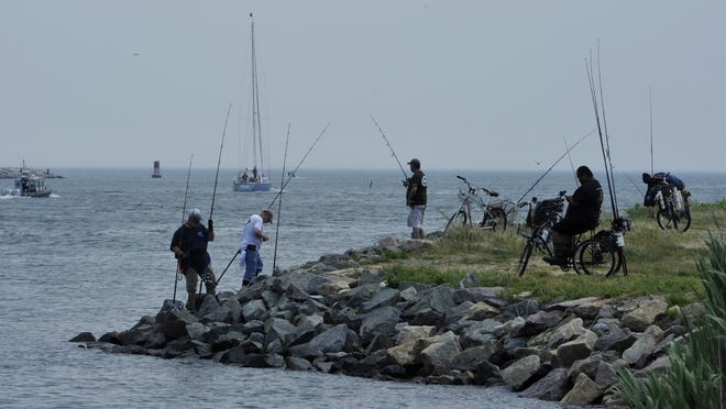 Fishermen jockey for position at the Cape Cod Canal. Citing issues that include threatening behavior, trespassing on private property and illegal parking, state officials on Wednesday announced a 90-day closure of the canal to commercial striped bass fishing.