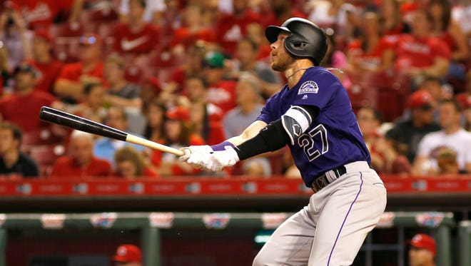 Trevor Story has nine homers this season, one shy of the rookie mark.