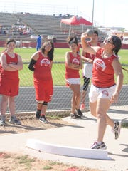 Loving's Tianna Lopez in the girls shot put Monday at Eunice.