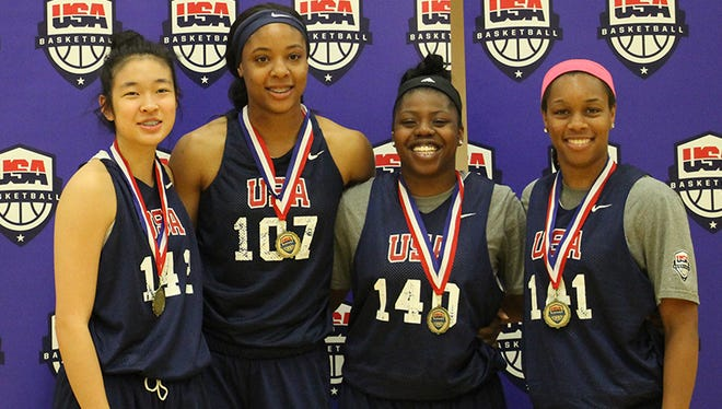 Louisville signee Asia Durr, right, was part of the winning U18 3x3 team