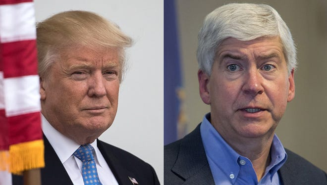 President-elect Donald Trump and Michigan Governor Rick Snyder