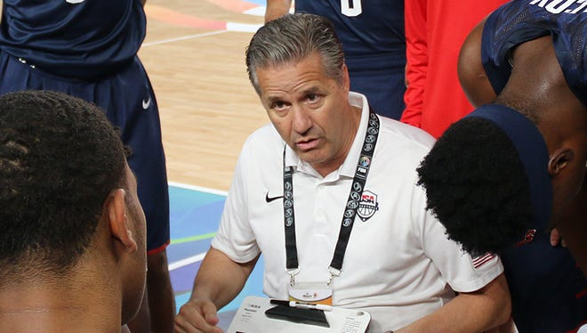John Calipari coaches Team USA against Iran in Cairo Saturday, June 1, 2017.
