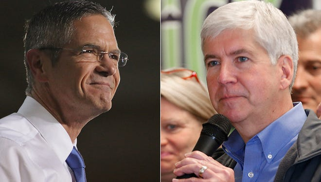 Mark Schauer, left, and Rick Snyder, right.