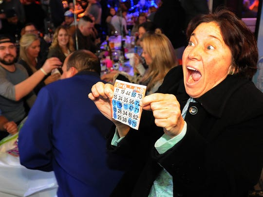 Bingo winner Nina Cameron from Georgetown reacts to her win at The Starboard.