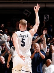 Butler Bulldogs guard Paul Jorgensen (5) reacts to making a three point shot against the Utah Utes during the first half at Hinkle Fieldhouse.