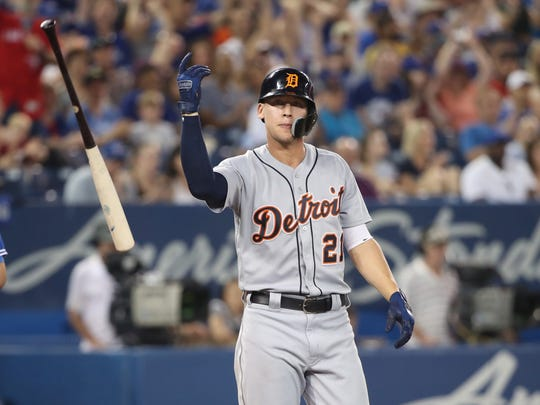 Detroit Tigers' JaCoby Jones reacts after striking out by flipping his bat in the ninth inning against the Toronto Blue Jays at Rogers Centre on June 30, 2018 in Toronto.