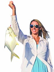 Estero angler Tori Maurillo used shrimp-tipped jigs to catch this pompano and 11 others around Estero Bay passes with Moonlight Charters Capt. Brad Brown. Photo courtesy Reel Talk Radio host Capt. Rob Modys.