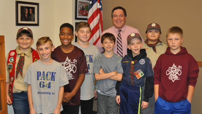 Members of Pack 64 Webelos 2 Cub Scouts recently met with Bridgewater Mayor Daniel J. Hayes. Pictures from left to right are Trevor Kelly, Johnny Bojtos, Trent Blissett, Tommy Oram, Ryan Rasmussen, Mayor Hayes, Tommy Buono, Jayden Yap and John Cooper.
