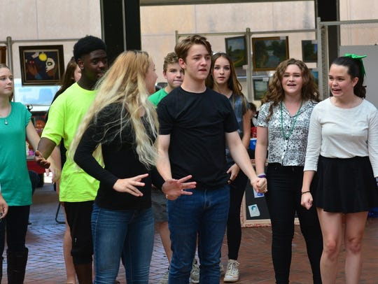 "In this 2017 file photo, he Backdoor Theatre Summer Youth Musical cast rehearses for ""13: The Musical."" Auditions for this summer's production of ""School of Rock"" will be March 5 and 6."