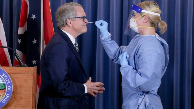 Ohio Gov. Mike DeWine was tested for the novel coronavirus in late June to demonstrate how the test works.