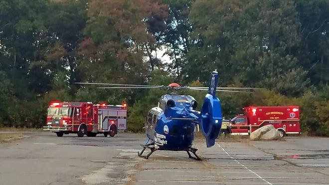 A 10-year-old boy was flown by medical helicopter to a Boston hospital after suffering serious facial injuries when he fell off his bicycle, Monday, Oct. 5, 2020.
