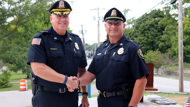 The East Bridgewater Police Department recently announced the promotions of Chief Paul O'Brien and Deputy Chief Michael Jenkins. Pictured from left are O'Brien and Jenkins.