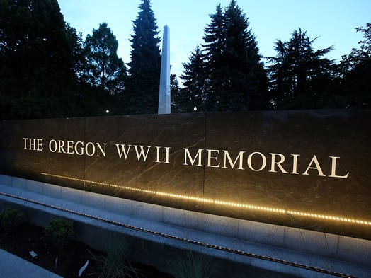 The Oregon World War II Memorial, seen here under the lights on Wednesday, May 28, 2014, is nearly ready for the public dedication ceremony at 1:30 p.m. on Friday, June 6.