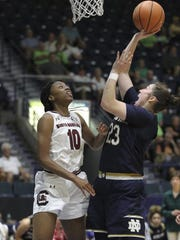 Notre Dame's Jessica Shepard (23) shoots the ball over
