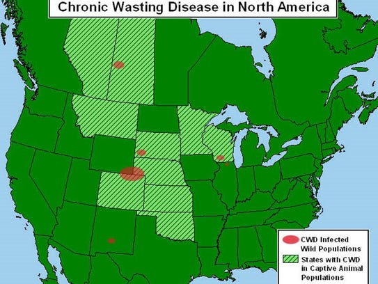 This map shows the known distribution of chronic wasting