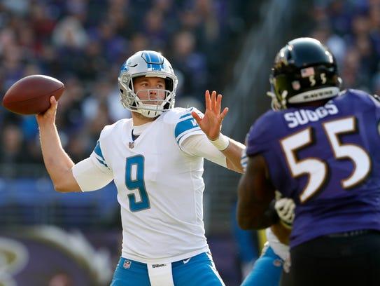 Lions quarterback Matthew Stafford throws the ball