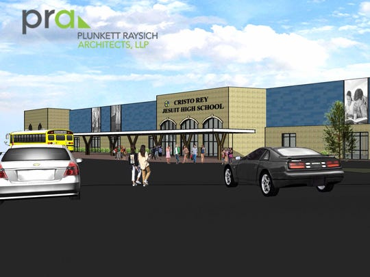 An architect's rendering depicts plans for a new Cristo Rey Jesuit High School at a former south side Pick 'N Save store on W. National Ave.