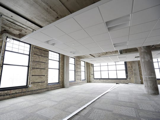 An office space under development  in the Larsen Green buildings on North Broadway in Green Bay. Businesses will begin to occupy the building in March.