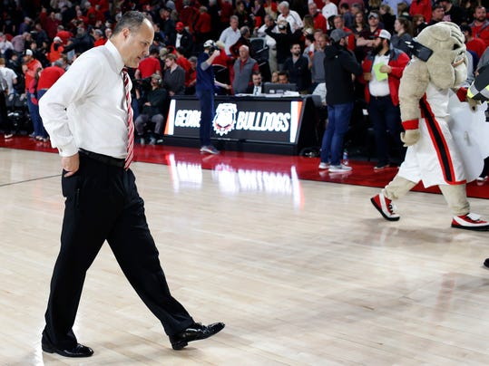 Georgia coach Mark Fox leaves the court after the team's loss to Texas A&M in an NCAA college basketball game in Athens, Ga., Wednesday, Feb. 28, 2018. Texas A&M won 61-60. (Joshua L Jones/Athens Banner-Herald via AP)