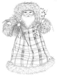 Father Christmas illustration by Wanda Stanfill for
