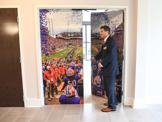 Gary Cohen, general manager of The Abernathy, enters the VIP room in the new hotel near Memorial Stadium in Clemson on Wednesday.