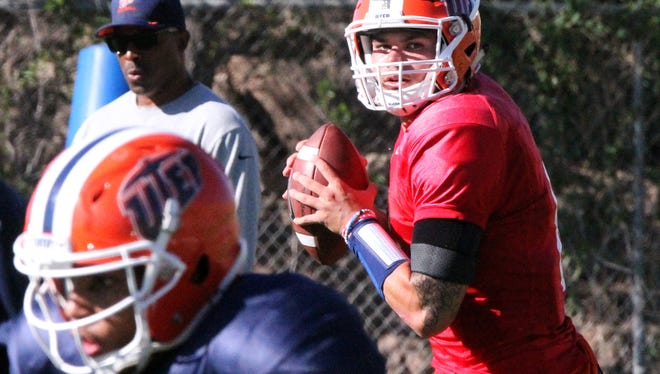 UTEP starting quarterback Zack Greenlee practiced in full pads Tuesday.