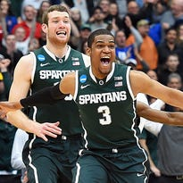 Michigan State guard Bryn Forbes had two late shots to help the Spartans reach the Final Four