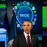 President Obama delivers remarks at the National Cybersecurity and Communications Integration Center (NCCIC) on January 13, 2015 in Arlington, Virginia. Obama discussed efforts to improve the government's ability to collaborate with industry to combat cyber threats.