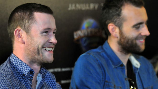 """Actors Devon Murray, left, and Matthew Lewis, right, answer questions from the media.  Universal Orlando hosted """"A Celebration of Harry Potter,"""" an event featuring items from the film franchise and news about the latest """"Harry Potter"""" expansion at Universal Orlando."""