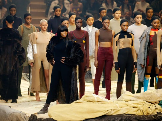 """Naomi Campbell poses onstage during Kanye West's """"Yeezy"""