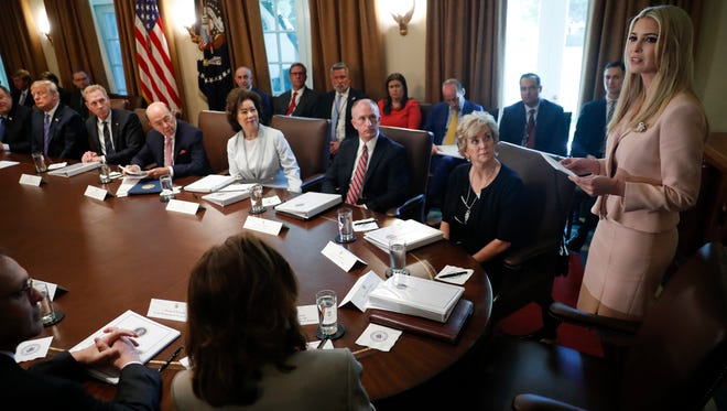 Ivanka Trump, right the daughter and assistant to President Donald Trump, far left seated, speaks during a Cabinet Meeting in Cabinet Room of the White House in Washington, Wednesday, July 18, 2018. (AP Photo/Pablo Martinez Monsivais) ORG XMIT: DCPM124