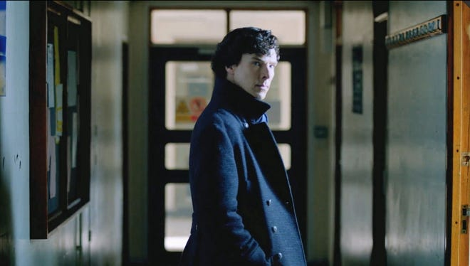 Benedict Cumberbatch casts a strong glare in a scene from the show 'Sherlock.'