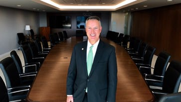 Dan Burns, a regional president, inside M&T Bank's new regional operations center inside the former home of Frontier Communications in downtown Rochester.