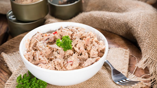 Tuna salad is usually made with canned tuna fish, one of America's most beloved staple foods.