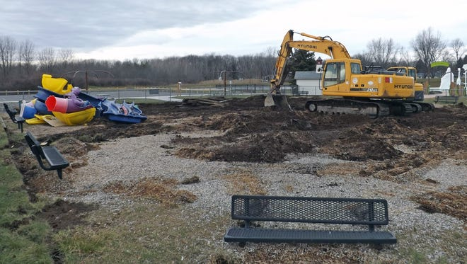 Crews removed the playground at the Greece Town Hall campus to make way for a new ADA-compliant playground. The new playground is set to be constructed in the spring.
