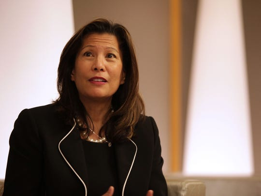 California Chief Justice Tani Cantil-Sakauye speaks during a break at the H.N. and Frances C. Berger Foundation presents Desert Town Hall in Indian Wells in February 2016.