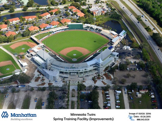 Aerial view of completed Hammond Stadium at CenturyLink Sports Complex.