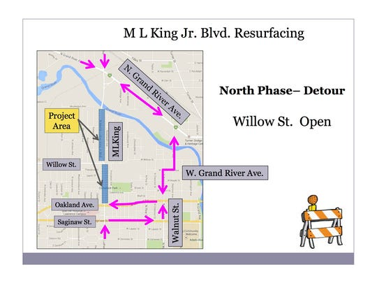 Detours for the northern phase of the MLK resurfacing project.