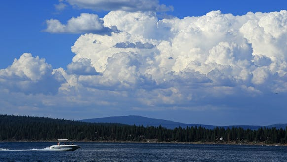 A boast speeds across Lake Almanor, located just off